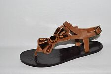 fe0099af447c NAUGHTY MONKEY NEW SZ 8 M BROWN LEATHER STONE DECOR FLAT GLADIATOR SANDALS