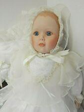 "Danbury Mint Christening Newborn Baby 20"" Porcelain Doll & Pillow"