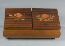 Vtg Inlaid Wood Music Box Floral Peach Coral