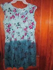 Urban Renewal Floral Multi Blue Tye Dye Dress Sz Large EUC