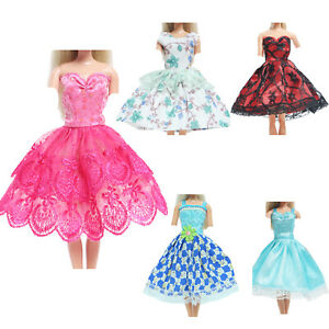 5 Party Ball Gown Mini Dress Strap Floral Lace Clothes for Barbie Doll Toy Gift