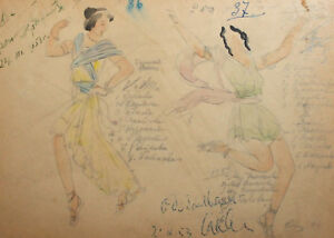 1953 Vintage watercolor drawing Romans theatre/opera costume design signed