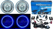 "7"" HID Blue LED Halo Ring Angel Eyes Headlight 6000K 6K Light Lamp Bulbs Pair"