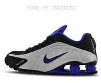 Nike Shox R4  Black Blue Silver Kids Boys Girls Trainers All Sizes