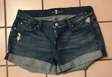 7 For All Mankind Blue Cotton Distressed Cropped Shorts Size 30