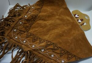 Western Fringe Cowgirl Multi SCARF Triangle BROWN Faux Suede Embroider AC17-2/22