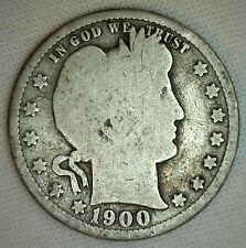 1900 Silver Barber Quarter Twenty Five Cent US Type Coin Good G Condition #R12