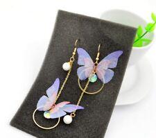 Rose Gold Asymmetry Butterfly Feather Pearl CZ Drop Stud Earrings Gift PE15