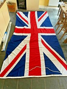 "Huge cotton-sewn UNION JACK flag 140"" x 68"" with string and clip as new"