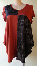 New David & Jessie size 12/14 black silver brown top short sleeves NWT