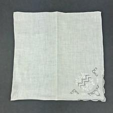 Vintage Madeira Style Bridal Wedding White Hankie Cut Hand Embroidered FLOWER