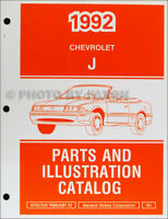 1992 Chevy Cavalier Parts Book Illustrated Chevrolet Master Part Catalog OEM