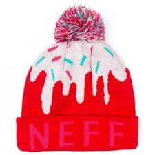 NEW Neff Girls Womens Pink Red Sweet Pom Beanie Winter Ski Hat 15F05043 NWT