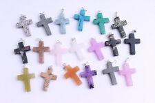 10pcs New  Mixed Millefiori Stone Glass Cross  Pendants DIY bracelet necklace
