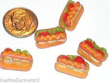 2 Pc. Tiny little miniature dollhouse Hot Dog Mustard onion loaded hotdog food