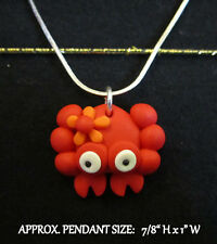 Red Crab Necklace-Charm Handmade Polymer Clay-Steel Chain