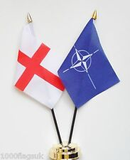 England & NATO North Atlantic Treaty Organisation Double Friendship Table Flags