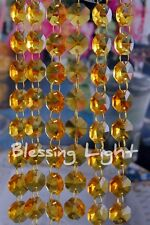 Light Amber - Lead Glass Crystal - Octagon Chandelier - Prisms Chains