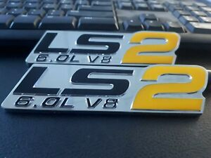 HOLDEN V8 LS2 BADGES HSV 6.0 DECAL VT VX VY VZ COMMODORE Yellow x 2