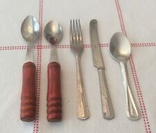 5 Vintage Child's Toy Knife Fork & Spoons Utensils USA Red Wooden Handle