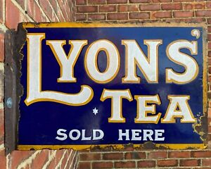 Antique Vintage Retro 1920/30s Lyons Tea x2 Sided Enamel Advertising Shop Sign