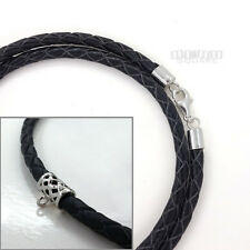 """Sterling Silver 4mm Braided Genuine Leather Cord Necklace w/Web Bail Loop 18/20"""""""