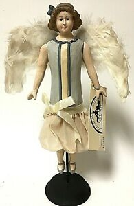 """Peaceable Kingdom Hand Carved Wood 13"""" Folk Art Angel With Feather Wings"""