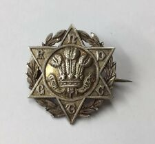 Antique Victorian Prince Of Wales Regiment Unusual Brooch Solid Silver Rnd Gtc