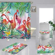 Tropical Flamingo Door Bath Mat Toilet Cover Rugs Shower Curtain Bathroom Decor
