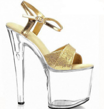 Womens High Stiletto Heel Shoes Platform Sequins Buckle Strap Slingbacks Sandals