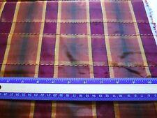 "Burgundy & brown plaid polyester decorating fabric 1 yd 9"" x 60"" glossy shine"