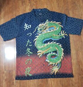 KAD Clothing Co. Mens Button Down Hawaiian Shirt, XXL, Chinese Dragons Pattern