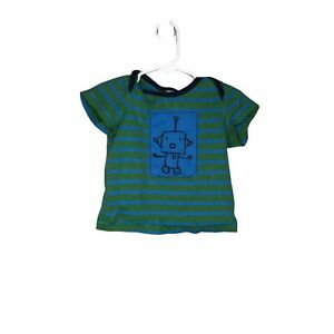 Hanna Andersson Infant Boys Robot T Shirt Green Stripe Size 70 US 6-12 Months