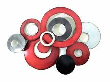 Large Contemporary Metal Wall Art Decor Picture - Red and Silver Abstract Discs