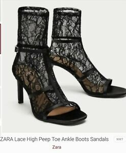 ZARA Trafaluc Special Edition Peep Toe Lace Ankle Boot Sandals Size 6 Unusual