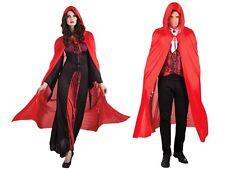 Mantello da vampiro con cappuccio di colore rosso (96937), taglia unica adulti