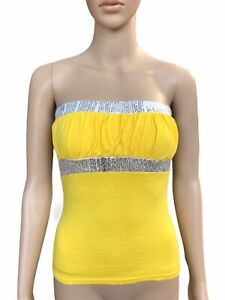Womens Bood Tube No Straps Top, Yellow, HOT Clubbing Fancy Summer TOP, SIZE S