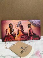 Anuschka Hand-Painted Leather RFID Blocking Bifold Clutch Wallet Flamenco Fiesta