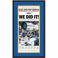 Framed St. Louis Dispatch We Did It Blues 2019 Stanley Cup Newspaper 17x27 Photo