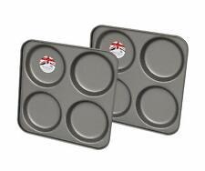 2x 4 Cup Yorkshire Pudding Muffin Tray Non Stick Pan Tin Tart Dessert Bun Tray