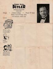 Illust Letter Sheet~Murray Bliss BUTLER~Magic~Punch & Judy~Chalk-Talkies~Ohio