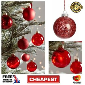 3 X 8cm Alpine Home Red Glass Christmas Tree Bauble Decoration