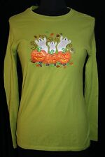 Halloween Womens S 4 - 6 Long Sleeved Shirt Top T-shirt Graphic Ghost Pumpkin