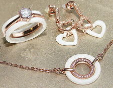 Ceramics White And 18CT Rose Filled Gold 3pcs Ring, Earring And Necklace Set.