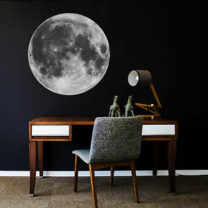 ZygoMax Full Moon Wall Sticker - Kids Space Themed Self-Adhesive Wall Decal