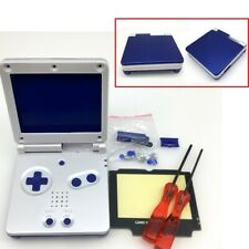 Blue & White Shell Housing Case For Nintendo Game Boy Advance SP + Blue buttons