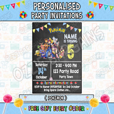 POKEMON Personalised Birthday Party Invitations / Invites Party Supplies