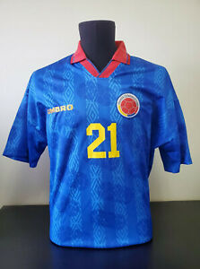 Colombia 1994 Match Worn Football Jersey Shirt -  Soccer Camiseta - #21 Asprilla