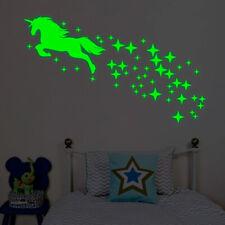 Luminous Unicorn Wall Stickers Kids Glow In The Dark Room Decor Decal Bedroom UK