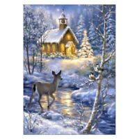 DIY Xmas House Deer 5D Diamond Embroidery Painting Cross Stitch Kit Full Drill